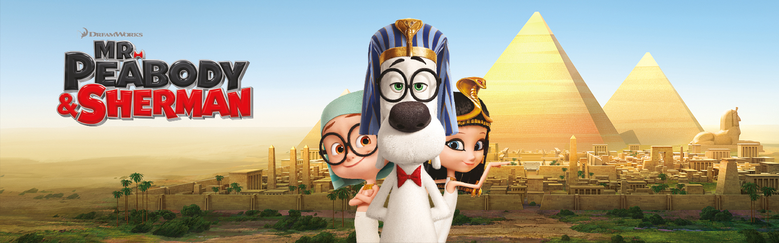 animated banner of peabody sherman film for cracking histories with characters and pyramids