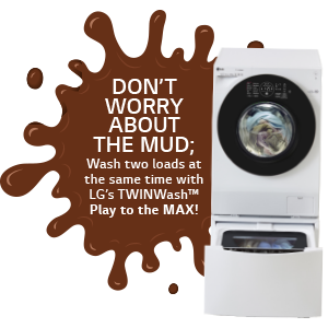 brown splat with don't worry about the mud text and washing machine
