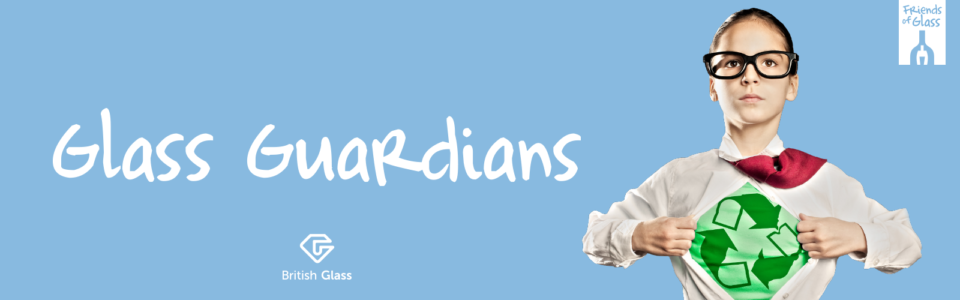 Glass Guardians banner with young boy wearing shirt with recycling symbol