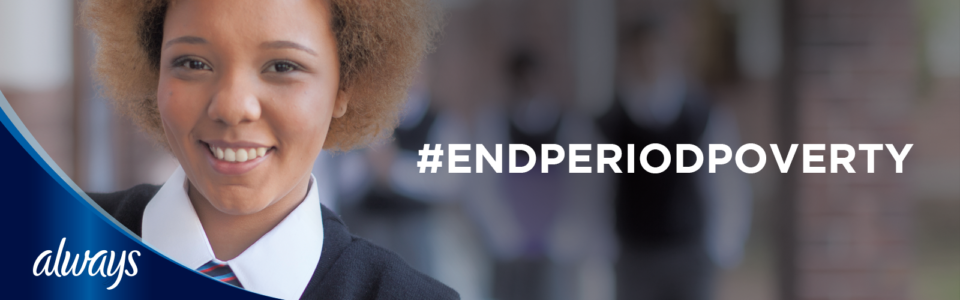 young girl smiling with #endperiodpoverty text