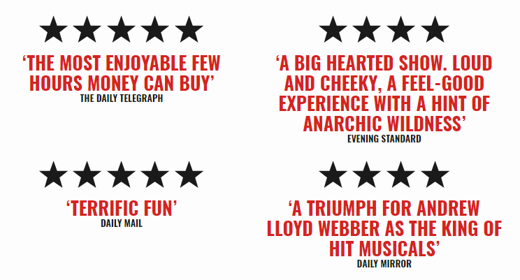five star ratings about school of rock musical