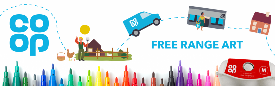Free Range Art winners banner image with farm to fork journey, egg box and brightly coloured crayons