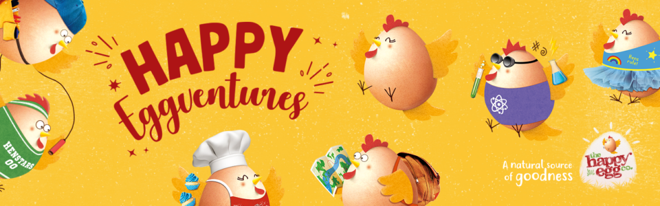 Yellow Happy Eggventures banner image with Super Six characters