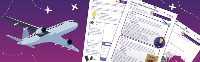 Image of heathrow home learning resources with animated aeroplane