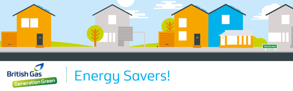 animated picture with two houses with energy savers as a heading