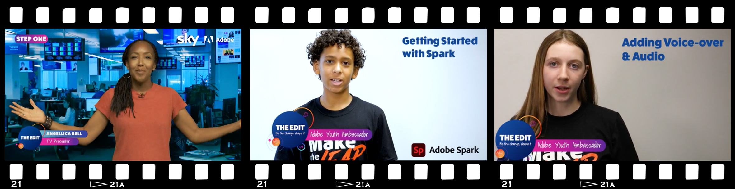 Film strip showing adobe how to videos and angellica bell brief