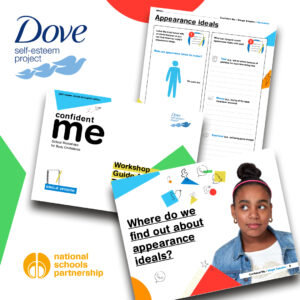 Flat lay image of a selection of the colourful Dove Confident Me teaching resources