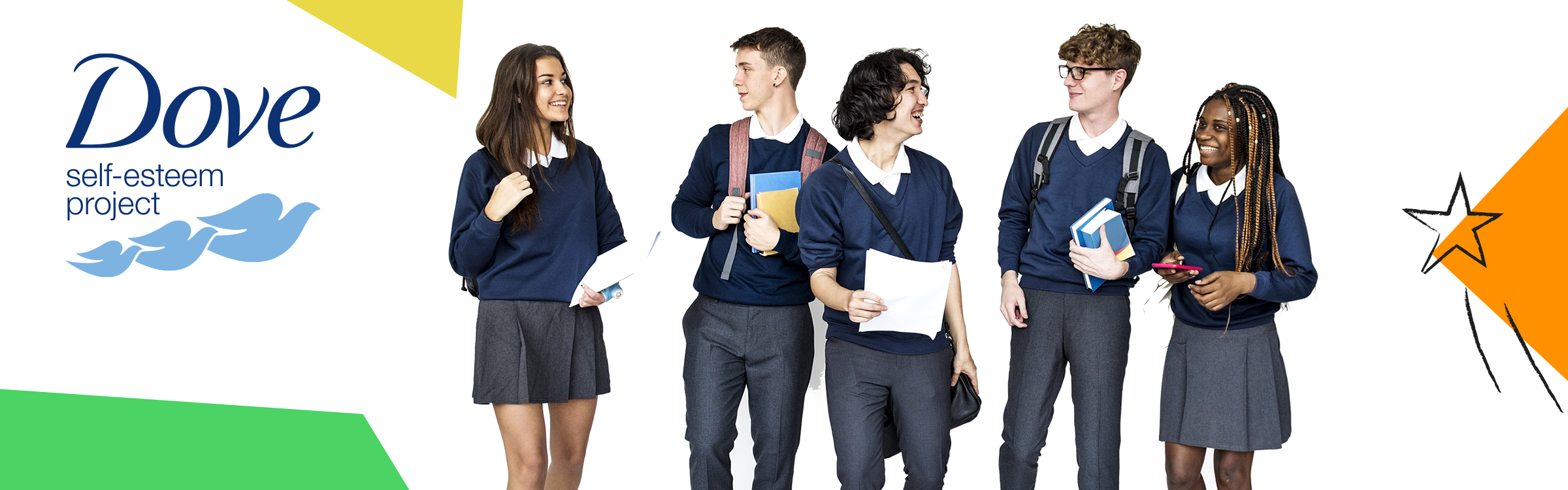 Image of 5 secondary school pupils smiling and walking with graphic coloured blocks and Dove logo
