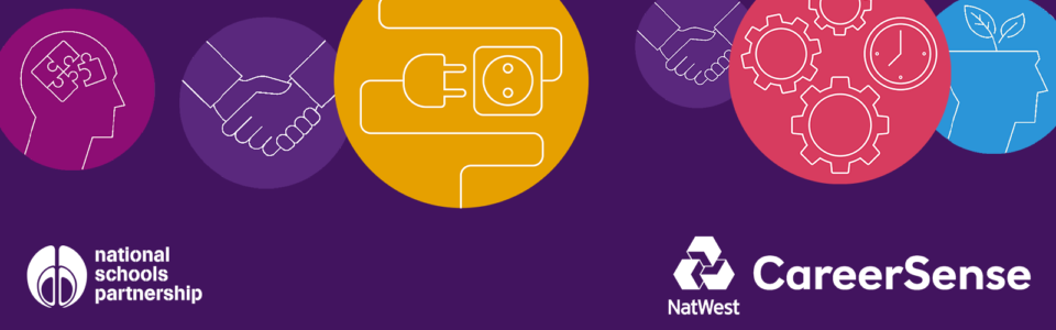 CareerSense logo with circular images of in shades of purple, yellow and blue on a dark purple background, with white line drawings of a jigsaw puzzle inside a head, handshaking, a plug and socket, cogs and leaves growing out of a head