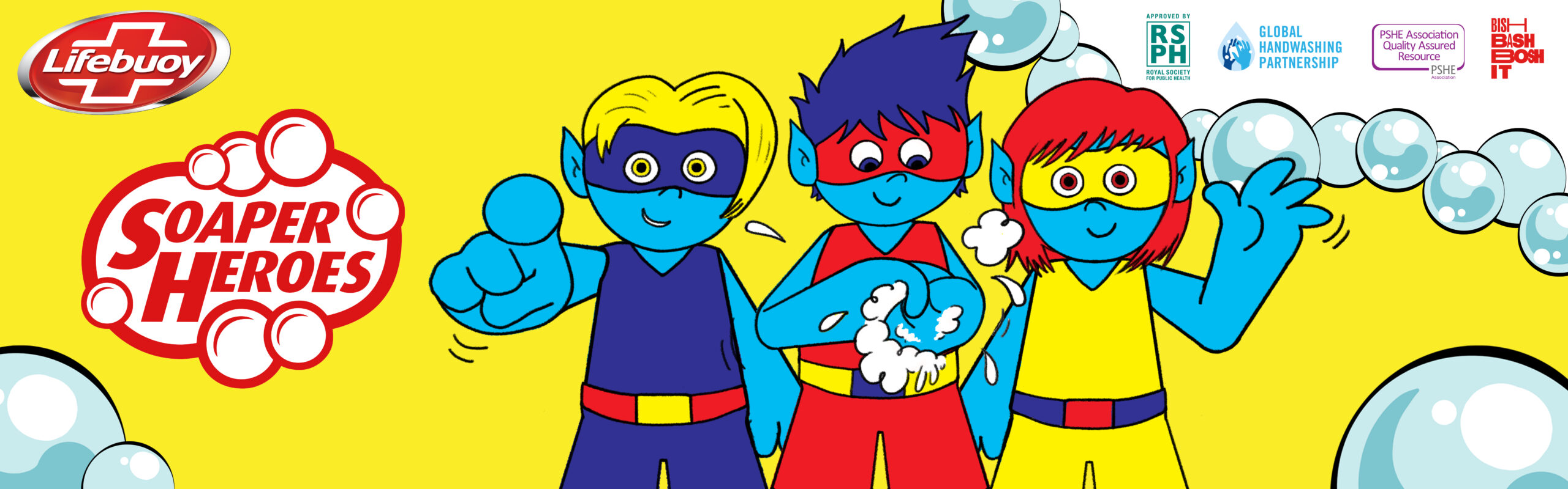Banner image showing three cartoon-style Soaper Heroes, in bright primary colours, washing their hands on yellow background