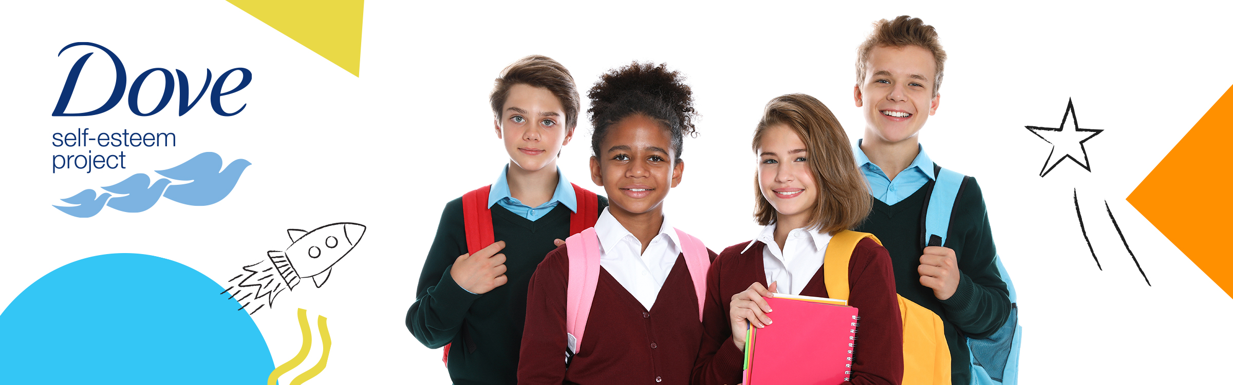 Four primary school pupils in uniform - two girls in red cardigans and two boys in green jumpers - all smiling and wearing rucksacs, on white background with bright abstract shapes in orange and blue and with blue Dove logo of three flying doves