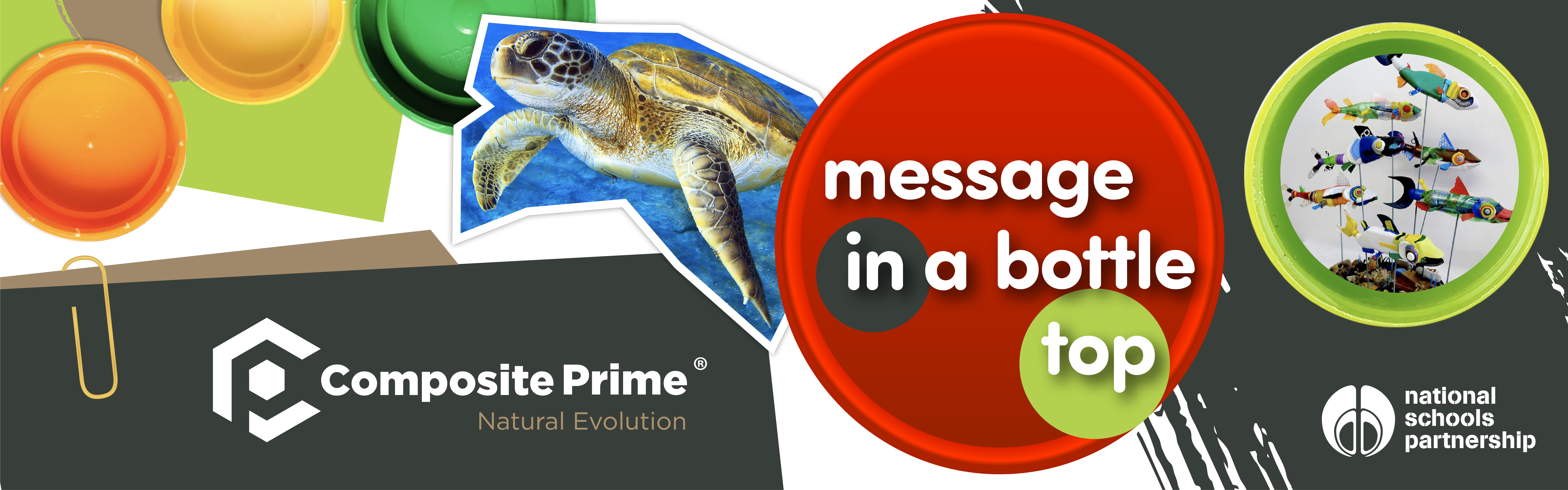 Colourful header image with turtle and bottle top